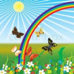 butterflies, rainbow & flowers